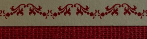 Closeup of binding with label and border